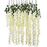 12pcs Artificial Silk Wisteria Vine Ratta Silk Hanging Flower Wedding Decor,White