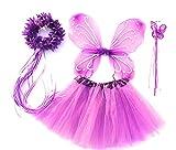 Tante Tina - Schmetterling Kostüm für Mädchen - 4-teiliges Set - Feenflügel / Schmetterlingsflügel Verkleiden - Violett mit Haarkranz
