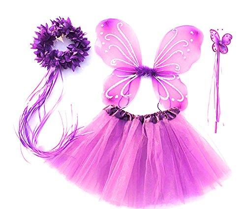 Tante Tina Costume da Farfalla per Bambina - Vestito Farfalla da Bimba in 4 Pezzi: Gonna in Tulle, Ali, Bacchetta e Cerchietto - Lavanda - Indicato per i Bambini da 2 a 8 Anni