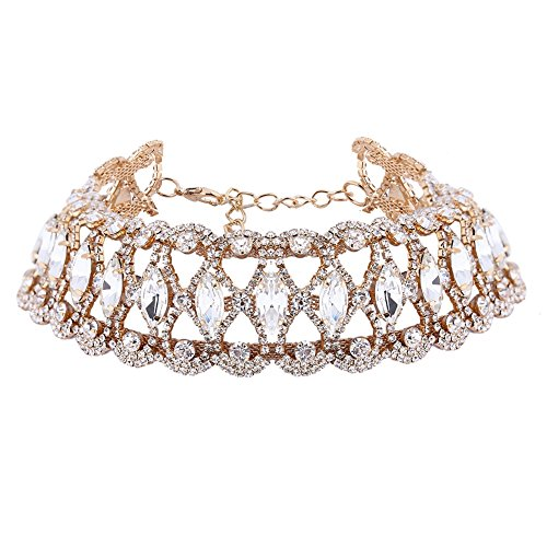 XY-Fancy-Damen-luxus-Choker-Halsreife-Strass-Wassertropfen-Halskette-Gold