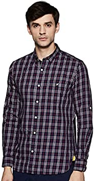 Amazon Brand - House & Shields Men's Checkered Regular Fit Full Sleeve Cotton Casu