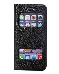 iPhone 6 Flip Case S View smart cover noir Coque housse etui PREMIUM Cuir Veritable pour iPhone 6 coque pochette flip cover de protection accessoires(Luxe Cuir Veritable,Noir Elegant)