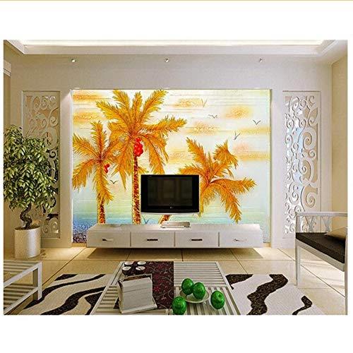Rureng Individuelle WandLandschaftGeprägt Goldenen Kokosnussbaum Für Das Wohnzimmer Schlafzimmer Tv Hintergrund Wand Wasserdichte Wand-280X200Cm