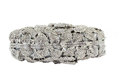Yilongsheng Ladies Glitter Soirée embrayage Sacs avec Floral cristal diamants argent