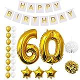 BELLE VOUS Geburtstag Luftballons Happy Birthday Banner Party Zubehör Set & Dekorationen Folienballons. Geburtstag Gold & Weiß Latex-Ballon-Dekoration - Dekor für alle Jugendlichen geeignet (Age 60)