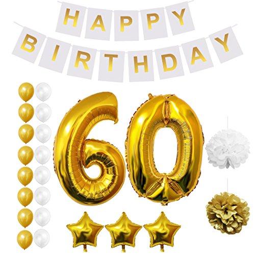 BELLE VOUS Globos Cumpleaños Happy Birthday, Suministros y Decoración Globo Grande de Aluminio - Decoración Globos De Látex Dorado y Blanco - Apto para Todos los Adolescentes (Age 60)