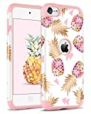 BENTOBEN iPod Touch 5 Hülle, iPod Touch 6 Hülle, Ananas Cover iPod Touch 5 6 Schutzhülle stoßfest Hybrid Harte PC Schale und Silikon Case Hülle für iPod Touch 5 6 Generation Rose Gold Pineapple