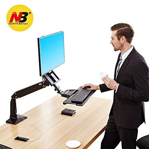 """NB North Bayou FC35 22""""-35"""" Monitor Tischhalterung mit Justierbare Gasfeder Ergonomische Gesund Arbeite Monitor Halterung Sitzen Stehen 3-9kg Monitor und Tastatur (22"""" - 35"""" Schwarz)"""