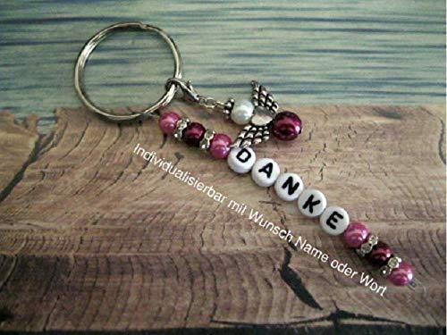 Handmade Schlüsselanhänger, Taschenanhänger Danke in Rosa/Beere mit Schutzengel- Text ist individualisierbar mit Wunschwort oder Namen