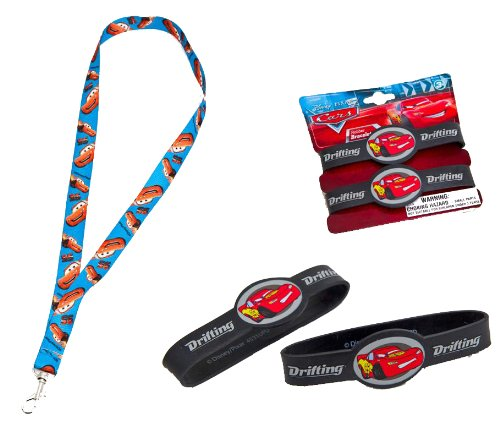 Joy Toy 61113/61139 Disney Cars 2 - Cinta llavero y pulseras de goma con diseño de Rayo McQueen