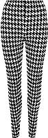 Plus Size Womens Dogtooth Long Leggings Ladies Full Black White Print - Black - 20/22