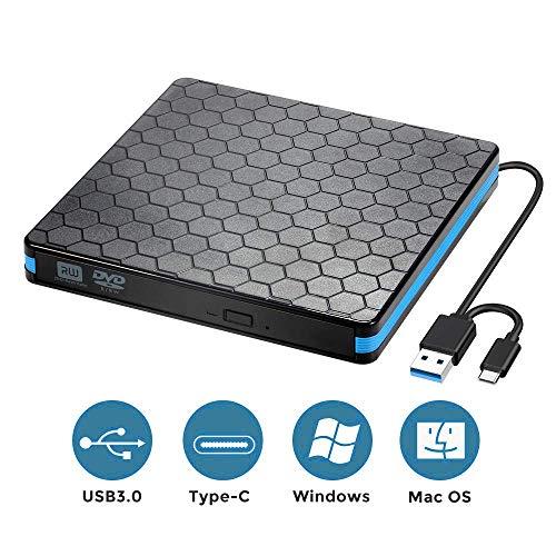 Fancartuk Externes DVD-CD-Laufwerk mit USB 3.0- und Typ-C-Schnittstelle, tragbarer CD-RW/DVD-RW-Brenner und -Lesegerät Superdrive für PC, Desktop, MacBook, Windows /7/8/10/, Vista, Linux