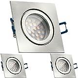3er IP44 LED Einbaustrahler Set Silber gebürstet mit LED GU10 Markenstrahler von LEDANDO - 5W - warmweiss - 60° Abstrahlwinkel - Feuchtraum / Badezimmer - 50W Ersatz - A+ - LED Spot 5 Watt - Einbauleuchte eckig
