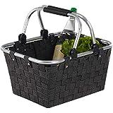 Einkaufskorb Einkaufstasche CARRY | Kunststoff geflochten | Schwarz | mit Griffen | 40x30x20 cm