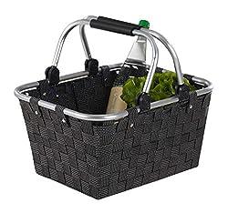 Home4You Einkaufskorb Einkaufstasche | Kunststoff geflochten | Schwarz | mit Griffen | 40x30x20 cm