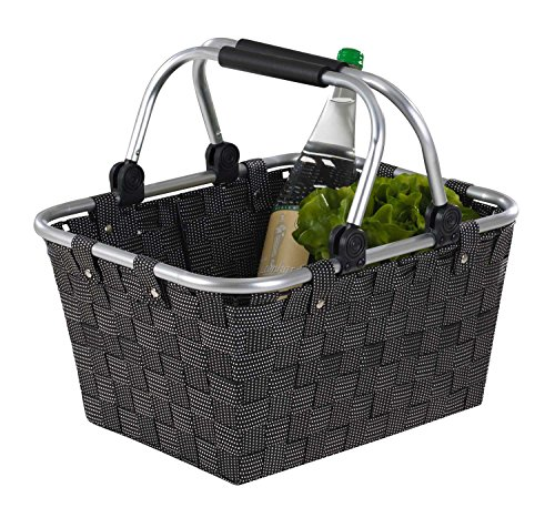 Home4You Einkaufskorb Einkaufstasche Carry | Kunststoff geflochten | Schwarz | mit Griffen | 40x30x20 cm