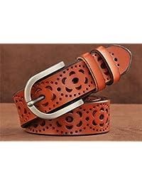 HAPP-BELT Señoras cinturón de Cuero de Moda Retro de Cuero cinturón Hueco  Hebilla cinturón 7b3a2aac0012