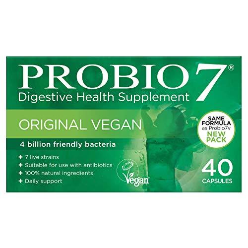 Probio7 Original Vegan | 7 lebende nuetzliche Bakterienstaemme | Jede Kapsel liefert 4 Milliarden gute Bakterien und 2 Arten von präbiotischen Ballaststoffen | Kulturen Komplex - Faser-ergänzung Kapseln