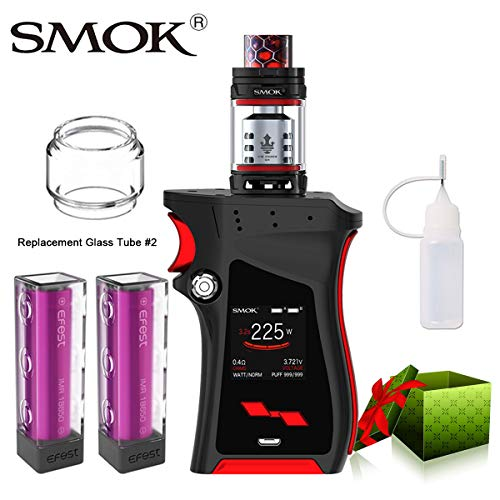 E Zigarette Starter Set Kein Nikotin, SMOK Mag Kit mit TFV12 Prince Tank, 225W E Shisha mit 2 * EFest-Akkus (Schwarz-Rot)