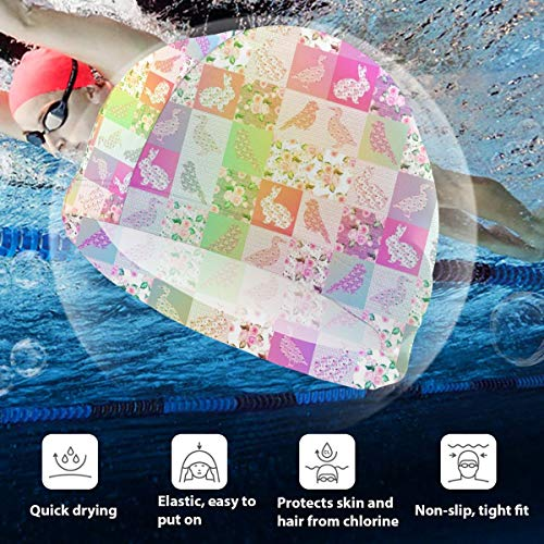 Kids Swimming Cap CHEATERQUILT Farm Animals Roses Flowers Silicone Waterproof Swim Cap Bathing Hair Quick Drying for Kids -