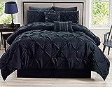 Best KingLinen Queen Bedding Sets - 8 Piece Rochelle Pinched Pleat Black Comforter Set Review