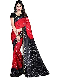 Craftsvilla Women's Tussar Silk Hand Painted Traditional Bandhej Red & Black Saree With Blouse Piece