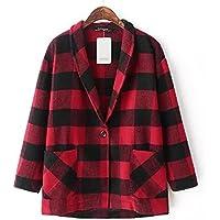 GS~LY Cappotti / camicetta / rosso e nero a scacchi / lana cappotto , figure , s