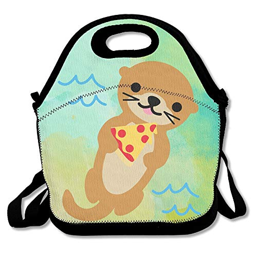 Funny Otter With Pizza Waterproof Lunch Tote Bag Insulated Reusable Picnic Lunch Boxes For Men Women Kids