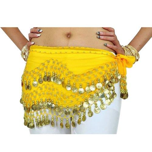 �rtel 3 Reihen 128 Münzen Tanzen Kostüme Hüfte-Rock-Gurt-Hüfte-Schal (Gelb) (Kostüme Arabe)