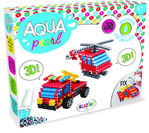 Aladine-Aqua Pearl Regalo camión Bombero 3D Perlas de Agua, 47031