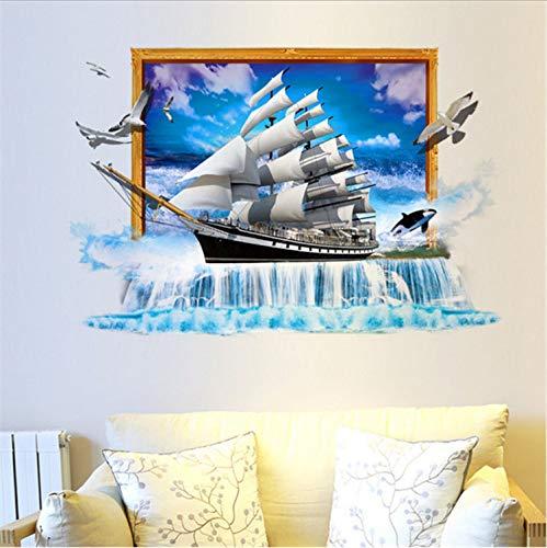 xmydeshoop Segelboot Wandaufkleber PVC DIY Dekoration Segelschiff Möwe Wand Poster Für Wohnzimmer Kinderzimmer Schlafzimmer Dekoration 60X90 cm