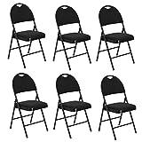 Klappstühle fanilife Set von 6Metall Faltbare Esszimmerstuhl, Stoff mit Sitz Retro Office Empfang Garten, der faltbar Schreibtisch-Stühle schwarz