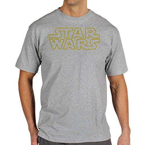 Star Wars Logo Yellow Outlines Herren T-Shirt Grau