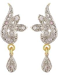 SKN Silver And Golden American Diamond Dangle & Drop Alloy Stud Earrings For Women & Girls (SKN-3355)
