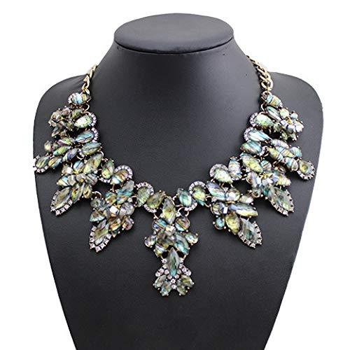 inal Vintage Persönlichkeit Übertrieben Choker Legierung Diamant Blume Anhänger Halskette Mode Schlüsselbein Kette Schmuck Wild Kostüm Partei Halskette Zubehör Farbe ()