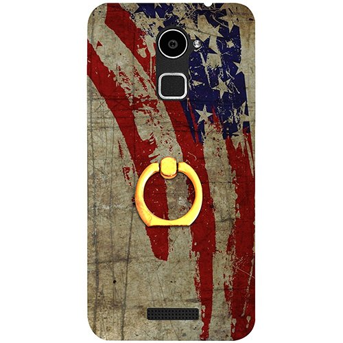 Casotec Vintage American Flag Design 3D Printed Hard Back Case Cover with Metal Ring Kickstand for Coolpad Note 3 Lite