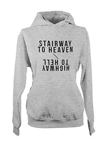 Stairway To Heaven Highway To Hell Music Cool Donna Felpa con cappuccio Grigio Large