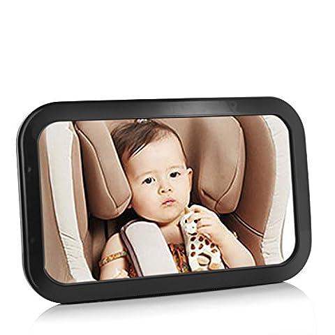 HBF Rücksitzspiegel für Babys 360°drehbar , Babyschalenspiegelextra feststehend mit 2 Bänder . Das Spiegel mit dem Bogen , erweitert zu Blicken