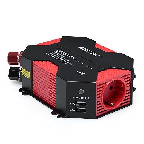 Wechselrichter 12v auf 230v/BESTEK 400W Wechselrichter 12v Steckdose DC 12V auf AC 230V 4 USB...