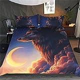 HTST Juego de cama doble 3D, juego de cama nórdica estampado de animales, ropa de cama para...