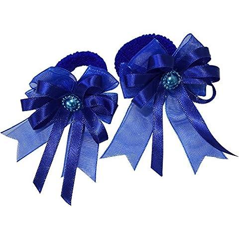 Pair of Small Blue Hair Bow Ribbon Scrunchies Elastics Bobbles Kids Accessories