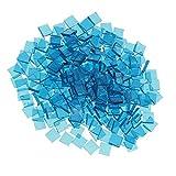MagiDeal Mosaico Piastrelle Vetro Trasparente Fai Da Te Decorazione Artigianato Pavimenti - Azzurro, Quadrato