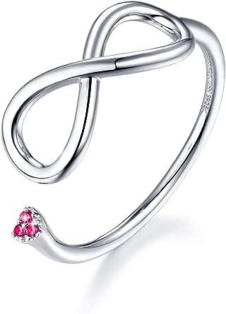 FOREVER QUEEN Forever Love Infinity Ring 925 Sterling Silver Adjustable Open Finger Ring For Women…