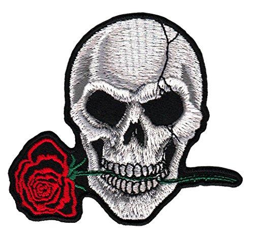 Totenkopf Grau Rose Aufnäher Bügelbild Grau Rose