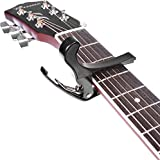 #8: Mustang One Handed Trigger Guitar Metal Capo Quick Change For Ukulele, Electric And Acoustic Guitars (Black)