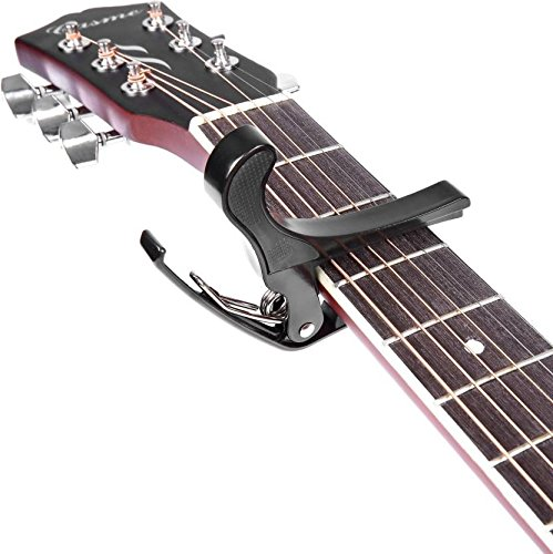 Crusader One Handed Trigger Guitar Metal Capo Quick Change For Ukulele, Electric And Acoustic Guitars (Black)  available at amazon for Rs.104