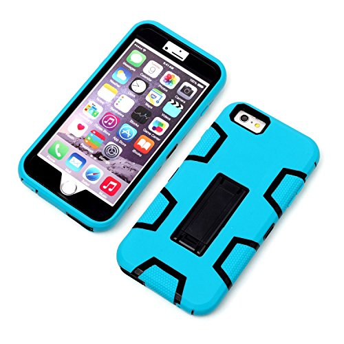 "HYAIT® For APPLE IPHONE 6 PLUS 5.5"" Case[C2][COLOR LINE][Holder] TPU+PC Premium Hybrid Shockproof Kickst Bumper Full-body Rugged Dual Layer Stents Cover-ROSE&BLACK IPHONE 6 5.5-C2-BLUE&BLACK"
