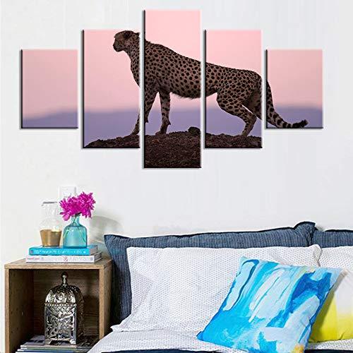 VCTQR 5 aufeinanderfolgende Gemälde Dekoratives Plakat Wohnzimmer HD Druck 5 Panel Gepard modulares Bild Wandkünstler Leben Moderne Malerei auf Leinwand