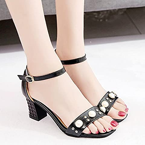 LGK&FA Summer Women'S Sandals Summer Word Buckle Sweet High-Heeled Shoes Coarse Heel Casual Fashion Sandals Women Pearl Shoes 36 Black