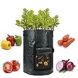 Freyamall 4 PCS 10 Galloni Giardino Sacchi per Piante Patata Pomodoro Piantatore Coltiva Borse con Patta e Maniglie di Accesso, Tessuto di Aerazione Borse Pentole per Piantare Cipolla Arachidi